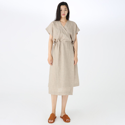 Wrap string linen dress