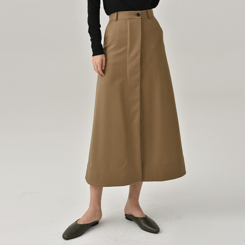 C. wool slit long skirts