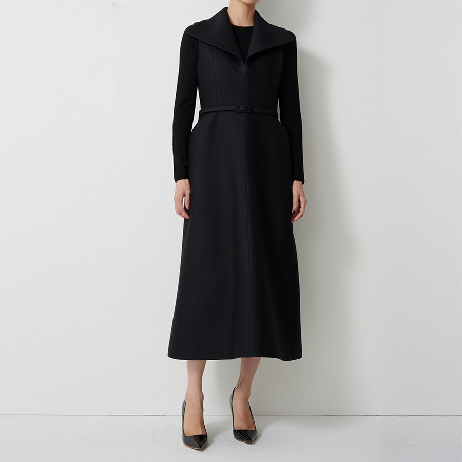 Wide Collar Wool Silk Dress