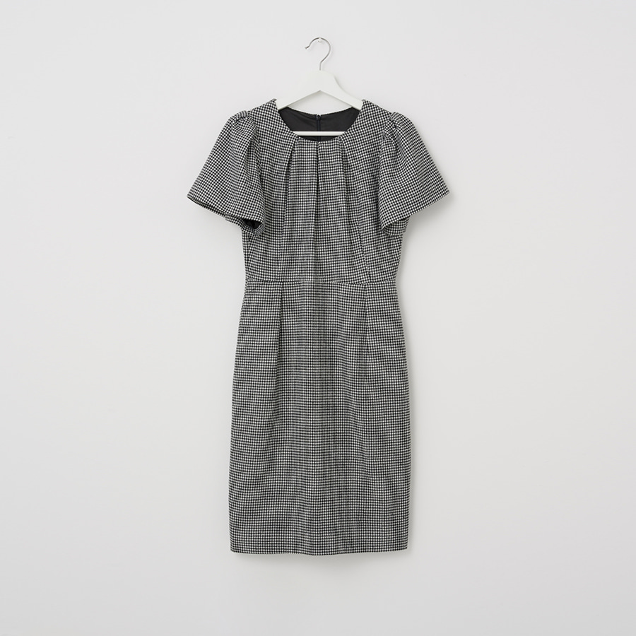 HOUND TOOTH PUFF SLEEVE DRESS