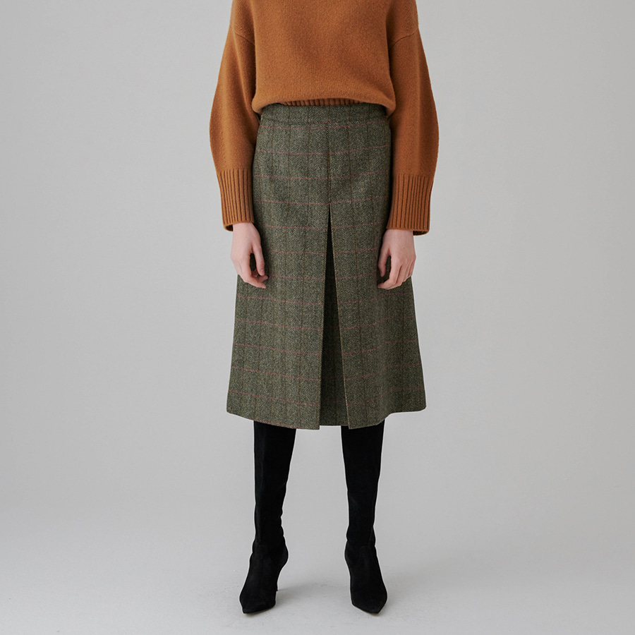 Carlo single box pleat skirt