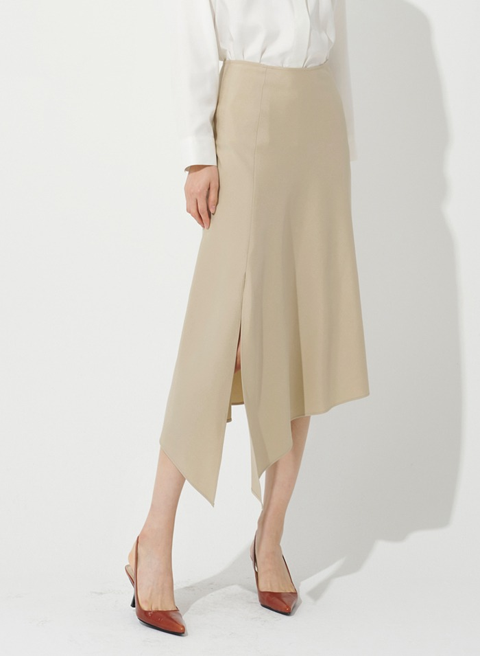 Asymmetric Silk Split hem Skirt