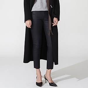 Napping coated black skinny pants