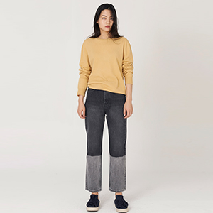 M.gary two-tone straight pants