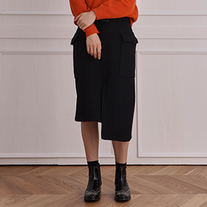 row belted wool skirt