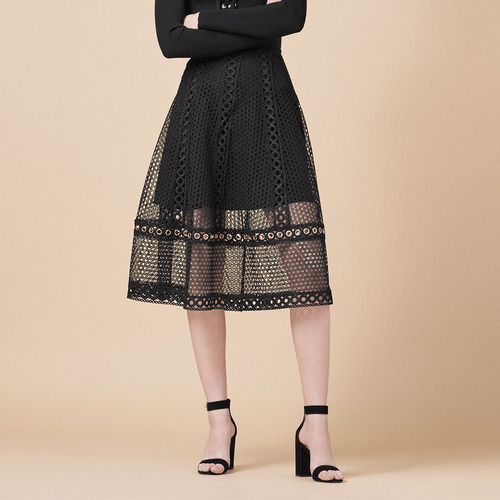 MJ LONG EMBROIDERED KNIT SKIRT