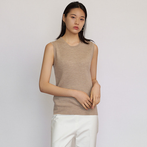 CASHMERE 20  RIB SLEEVELESS