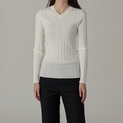 2차 리오더 / 37 gauge merino wool rib knit (  V-NECK )