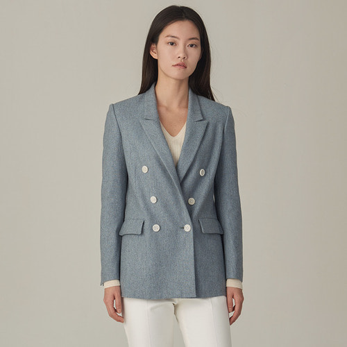 BLUE HERRINGBONE DOUBLE BLAZER