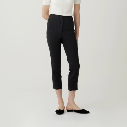 COLLE  SHIRRING LINEN CROP TROUSER