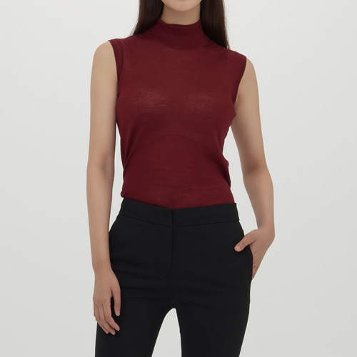 HALF NECK MERINO WOOL SLEEVELESS KNIT