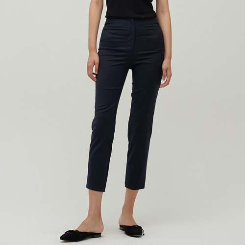 COLLE SHIRRING WOOL CROP TROUSER