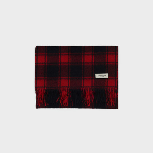 [ SUPERCASHMERE ] Tartan check muffler RED