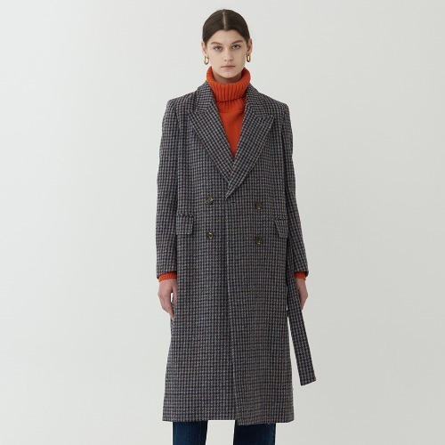 40% SALE / SAMA DOUBLE BELTED CHECK COAT