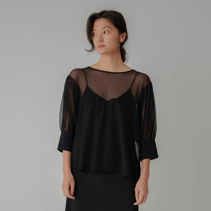 See Through Puff Sleeves Knit