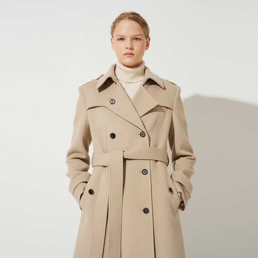 Saby belted wool trench coat