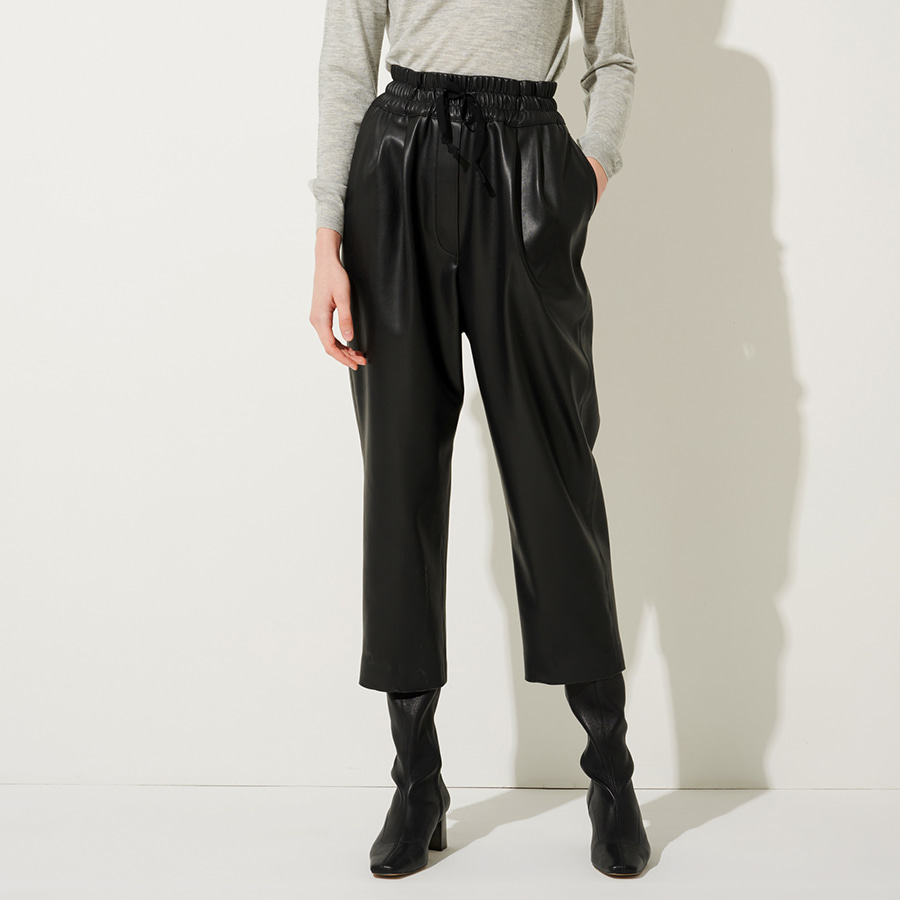 Faux leather banding trousers