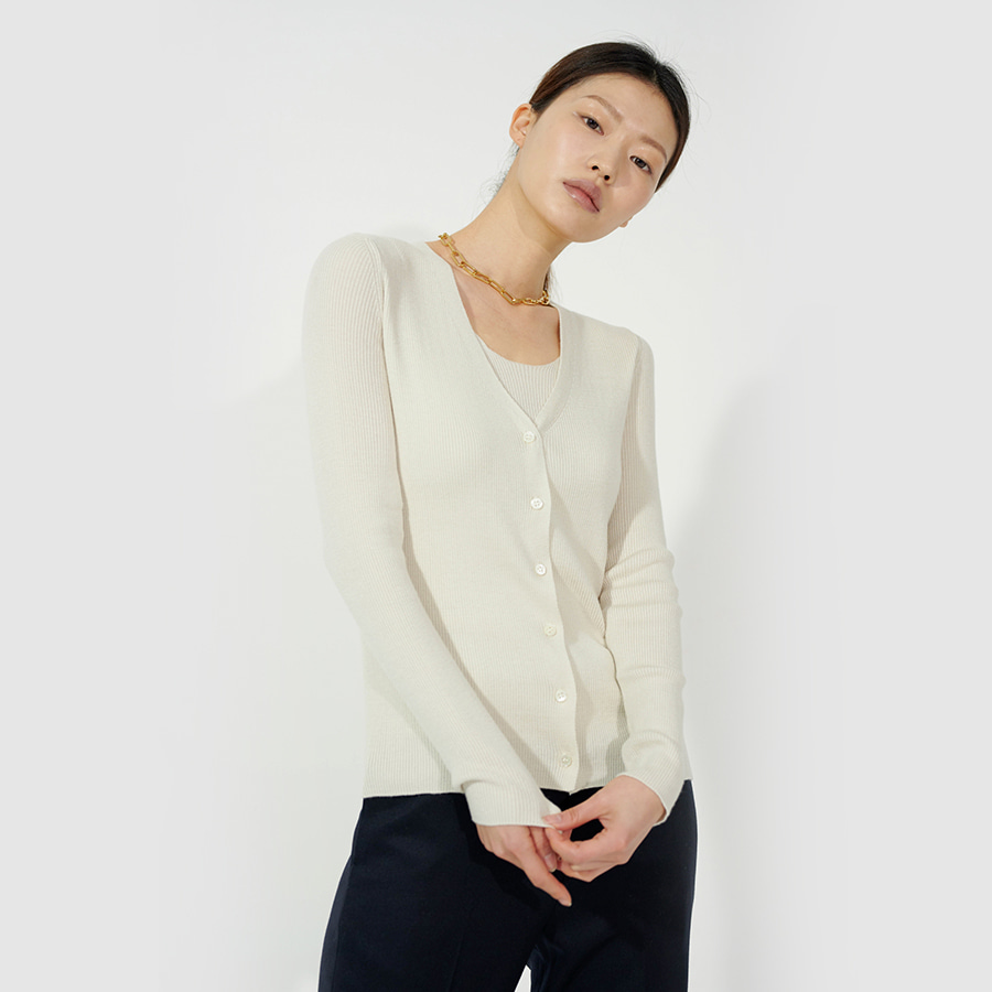 Noi golgi sleeveless cardigan set