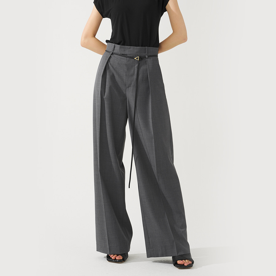 High wide tuck trousers