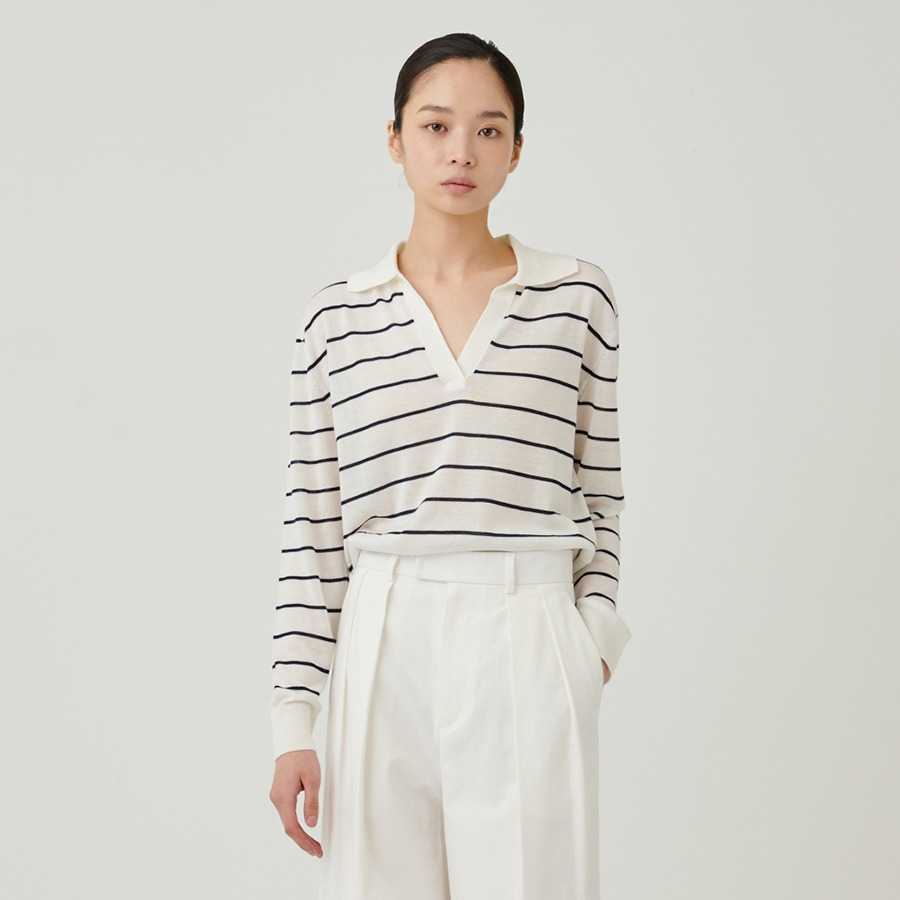 Collar stripe knit