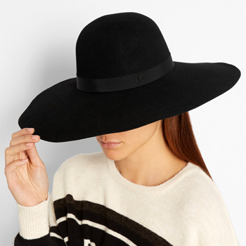 [50%sale} Blanche wide-brim rabbit-felt hat